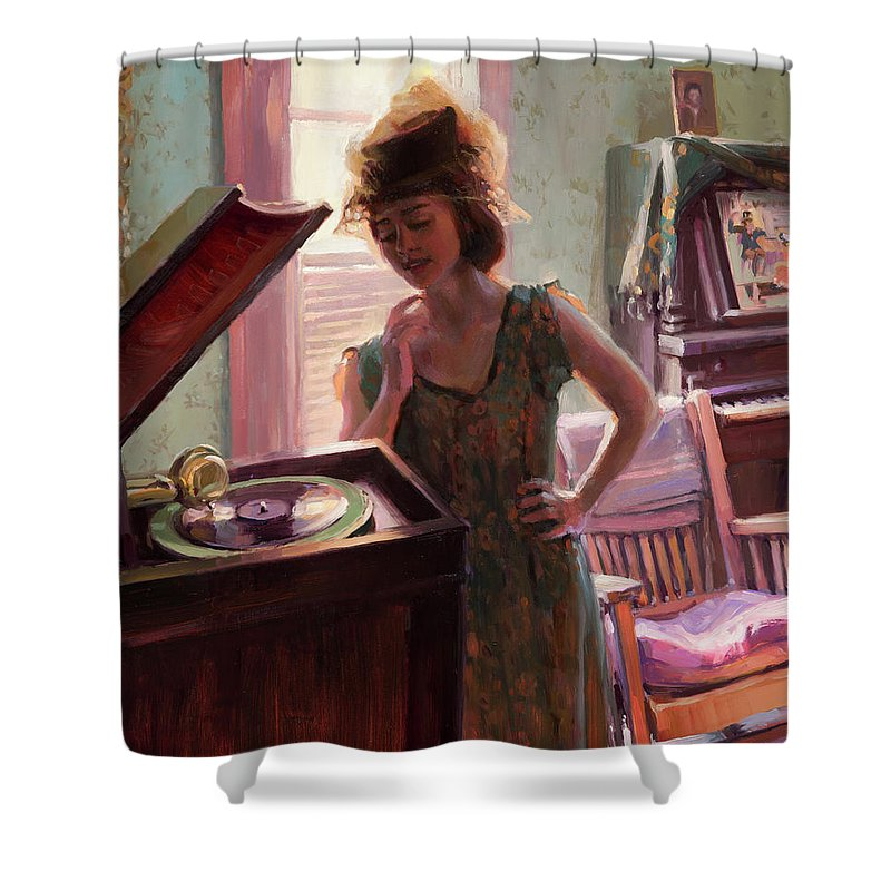 Nostalgia Shower Curtain featuring the painting Phonograph Days by Steve Henderson