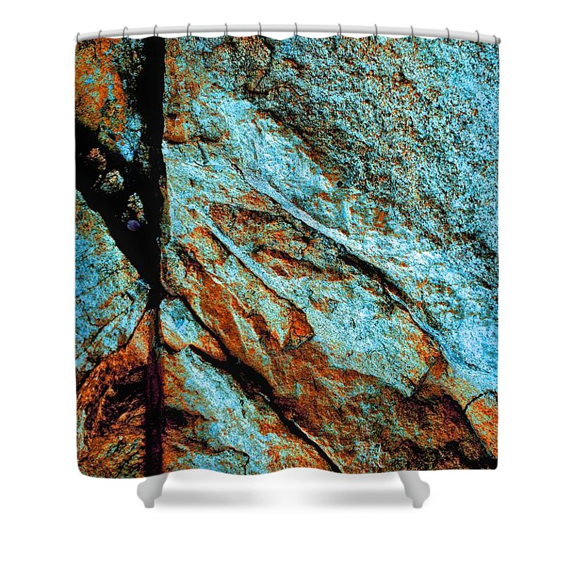 Rocks Shower Curtain featuring the photograph Line In The Rock by Cate