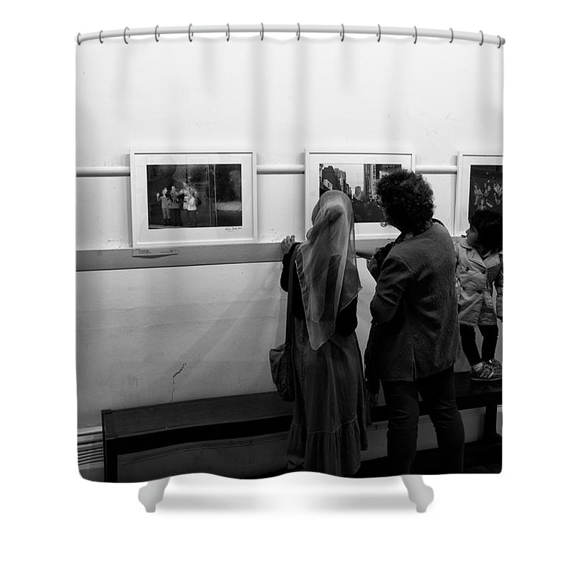 Photo Critics Shower Curtain featuring the photograph Photo Critics by Win Naing