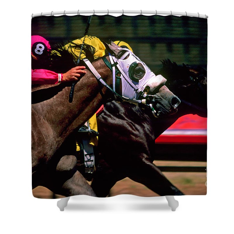 Horse Shower Curtain featuring the photograph Photo Finish by Kathy McClure