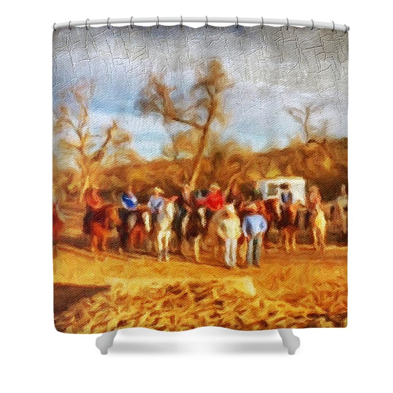 Western Shower Curtain featuring the digital art Happy Trails by Linda Weinstock