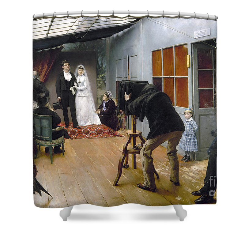 1878 Shower Curtain featuring the photograph Photography Studio, C1878 by Granger