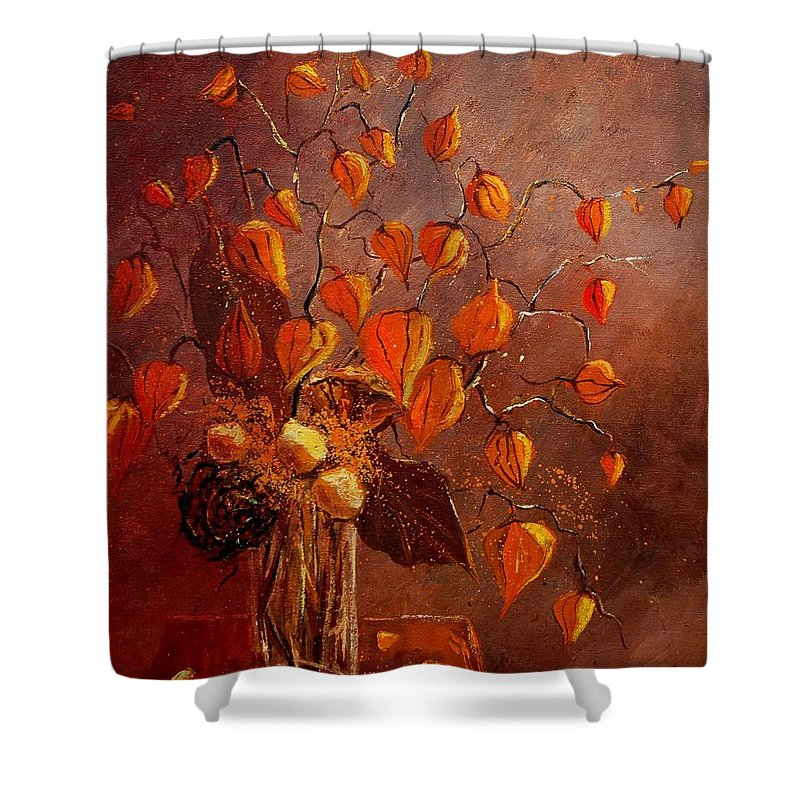 Poppies Shower Curtain featuring the painting Physialis by Pol Ledent