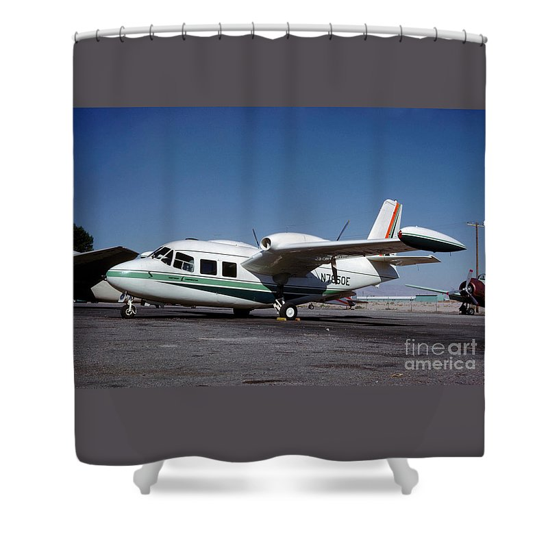 Piaggio P.166 Shower Curtain featuring the photograph Piaggio P.166 On The Tarmac by Wernher Krutein