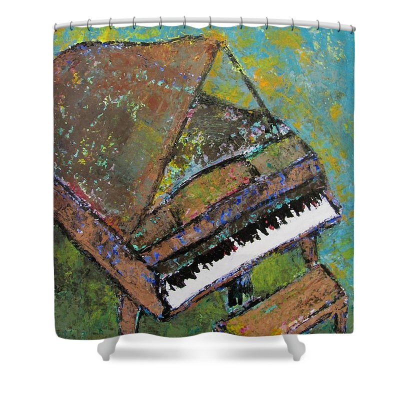 Piano Shower Curtain featuring the painting Piano Aqua Wall by Anita Burgermeister