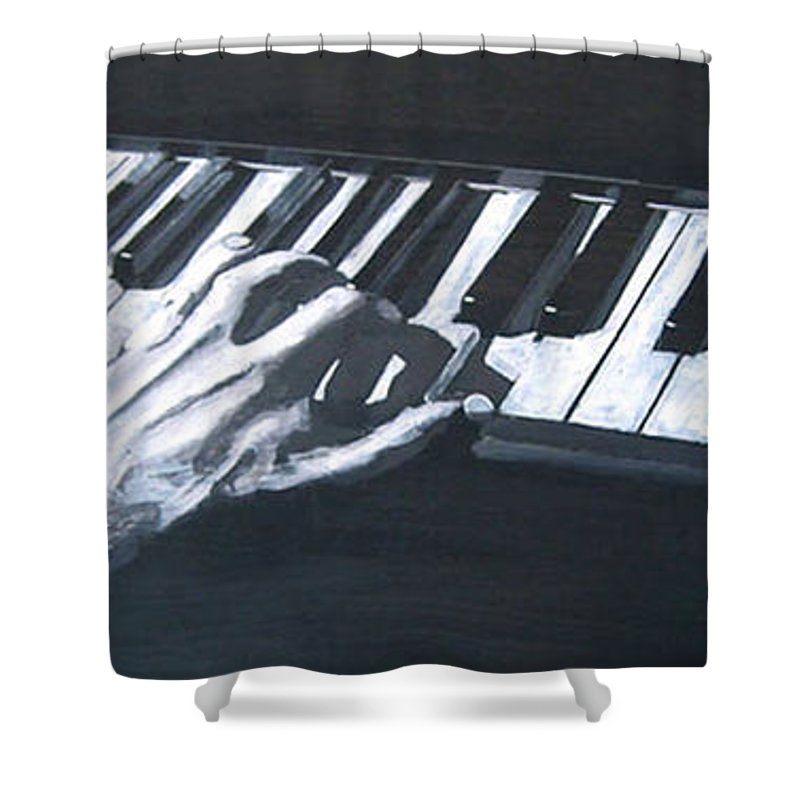 Metronome Shower Curtain featuring the painting Piano Hands Plus Metronome by Richard Le Page