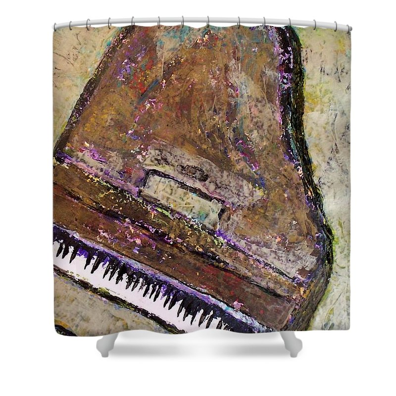 Piano Shower Curtain featuring the painting Piano In Bronze by Anita Burgermeister