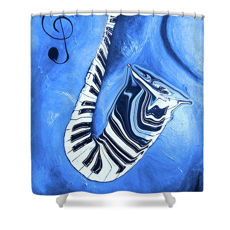 Piano Keys In A Saxophone Blue - Music In Motion Shower Curtain featuring the mixed media Piano Keys In A Saxophone Blue - Music In Motion by Wayne Cantrell