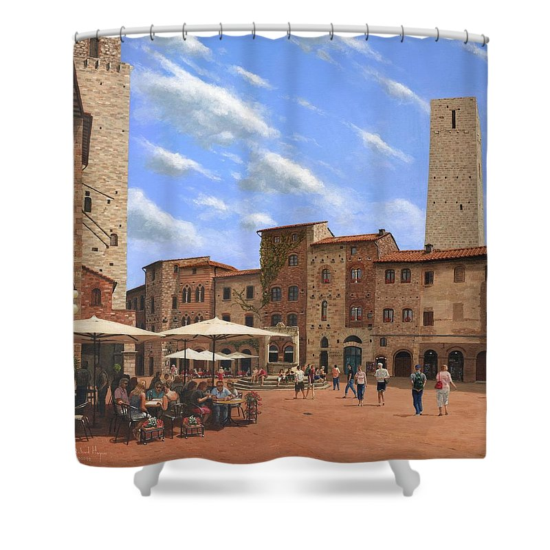 Landscape Shower Curtain featuring the painting Piazza Della Cisterna San Gimignano Tuscany by Richard Harpum