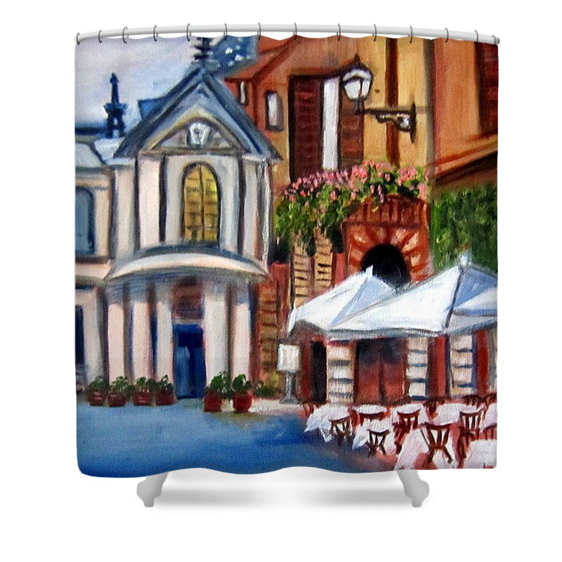 Rome Shower Curtain featuring the painting Piazza Romana by Lia Marsman