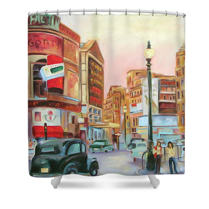 Cityscape Shower Curtain featuring the painting Picadilly by Ginger Concepcion