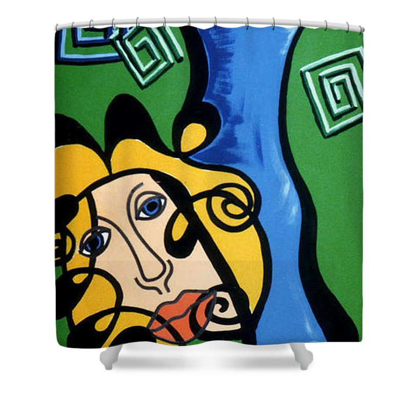 Shower Curtain featuring the painting Picasso Influence With A Greek Twist by Catt Kyriacou