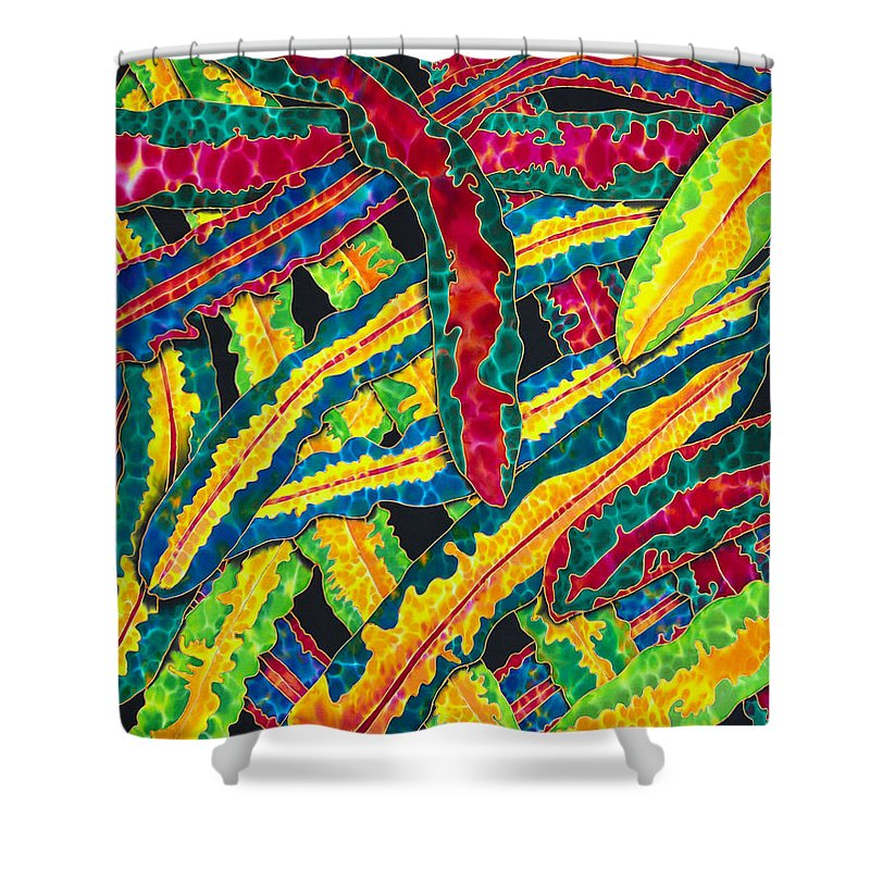 Silk Art Shower Curtain featuring the painting Picasso Paintbrush Croton by Daniel Jean-Baptiste