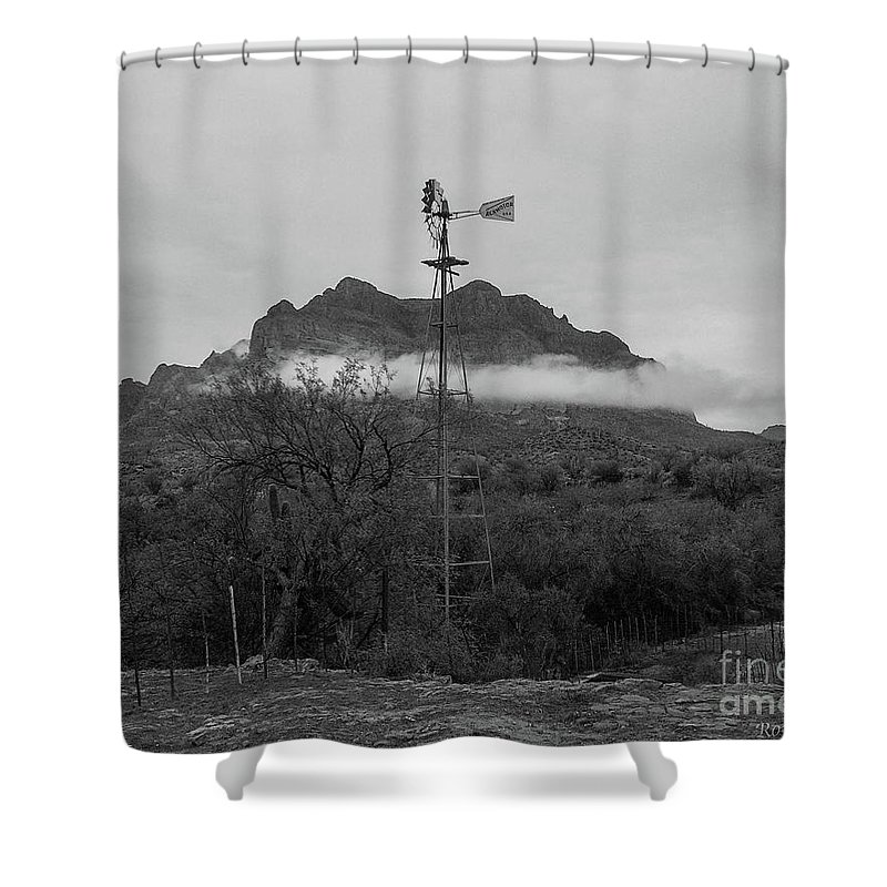 Windmill Shower Curtain featuring the photograph Picket Post Windmill Bw by Katie Brown