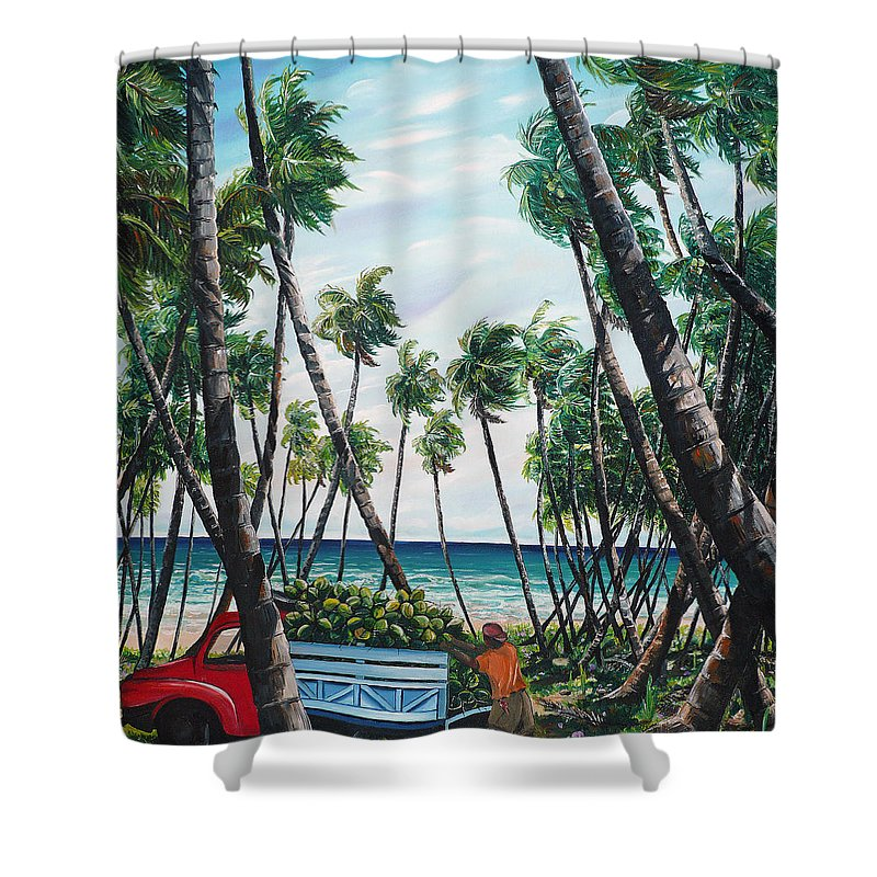 Beach Paintings Ocean Paintings  Caribbean Paintings Coconuts Paintings Tropical Paintings Truck Paintings Sea Paintings Trinidad And Tobago Paintings Tropical Paintings. Greeting Card Paintings Canvas Print Paintings Poster Paintings Shower Curtain featuring the painting Picking Coconuts .. Mayaro by Karin Dawn Kelshall- Best