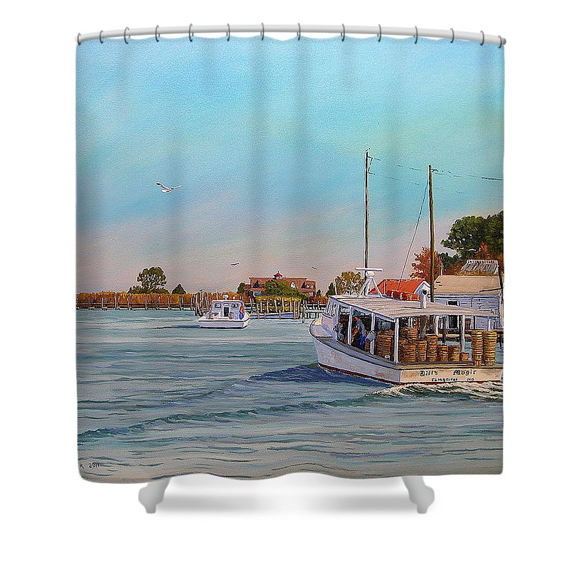 Tangier Island Shower Curtain featuring the painting Picking Up Crab by Jerry Spangler