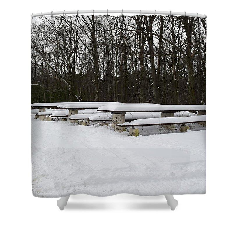 Picnic Bench Shower Curtain featuring the photograph Picnic In The Park by Christina McNee-Geiger