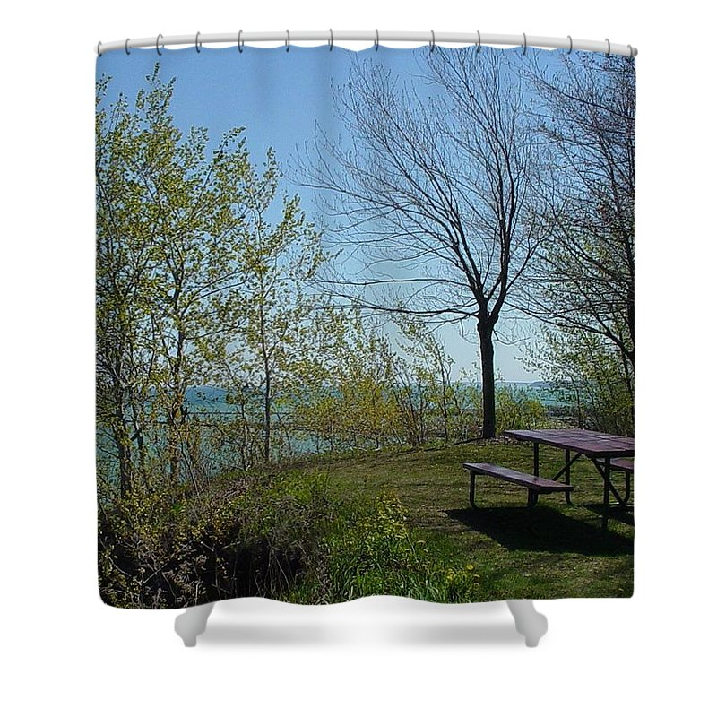 Lake View Shower Curtain featuring the photograph Picnic Table By The Lake Photo by Anita Burgermeister