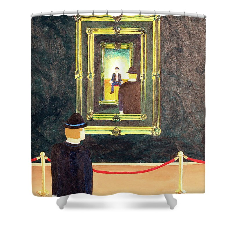 Surrealism Shower Curtain featuring the painting Pictures At An Exhibition by Thomas Blood