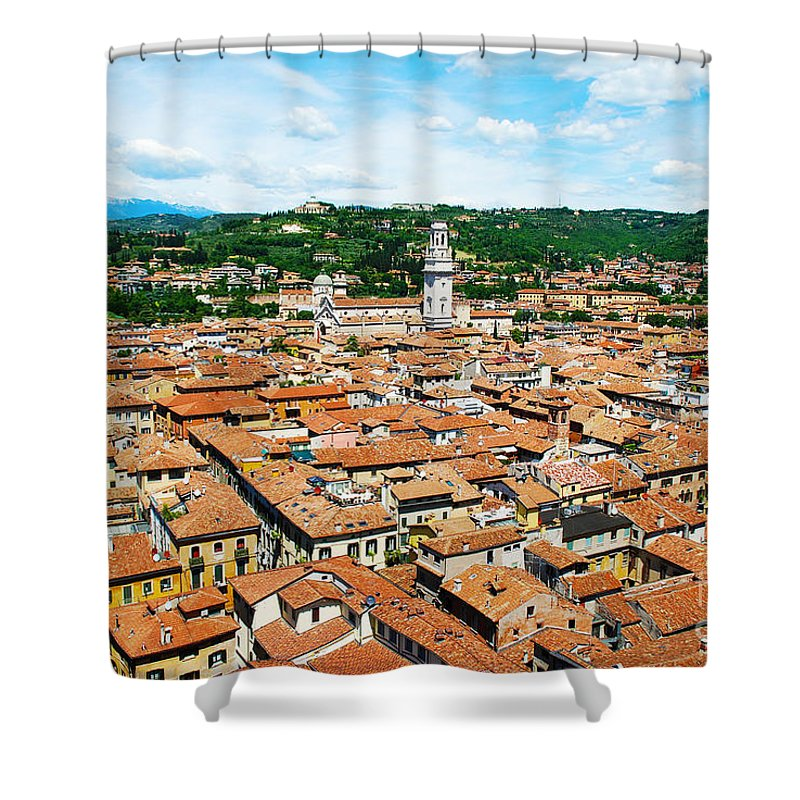 Verona Shower Curtain featuring the photograph Picturesque Cityscape Of Verona Italy by Just Eclectic