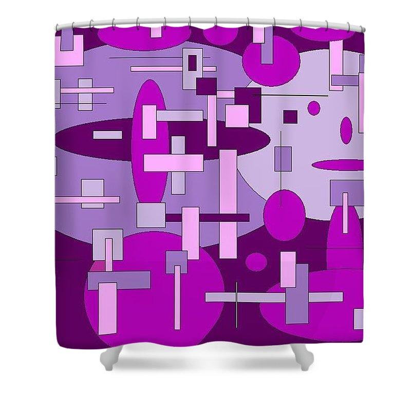 Digital Artwork Shower Curtain featuring the digital art Piddly by Jordana Sands