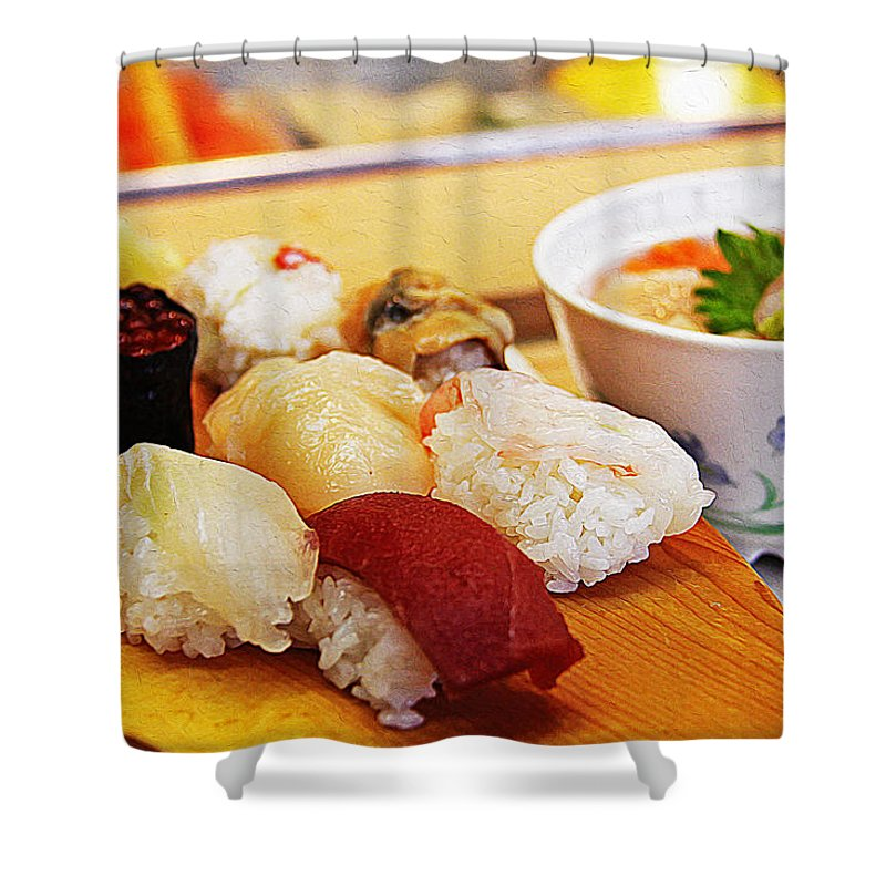 Sushi Art Shower Curtain featuring the painting Pieces Of Sashimi by Queso Espinosa