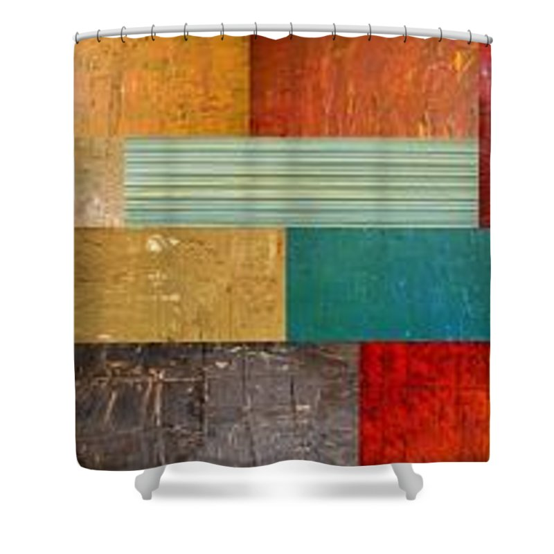 Skinny Shower Curtain featuring the painting Pieces Project V by Michelle Calkins