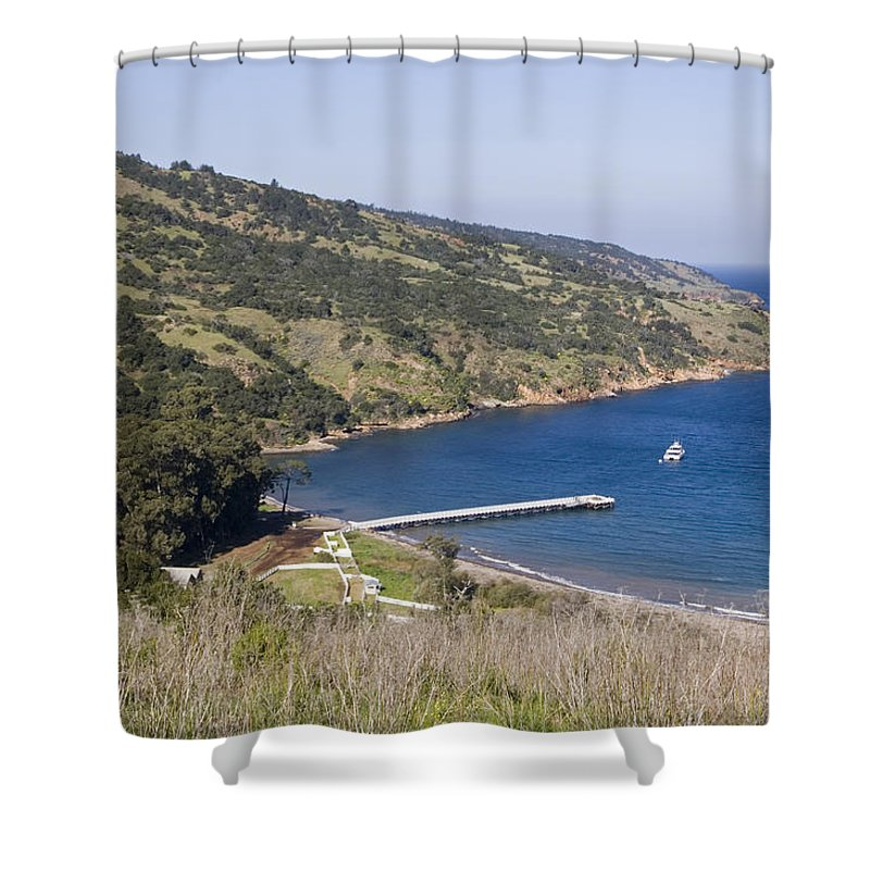 Piers Shower Curtain featuring the photograph Pier And Boat In Prisoners Harbor by Rich Reid