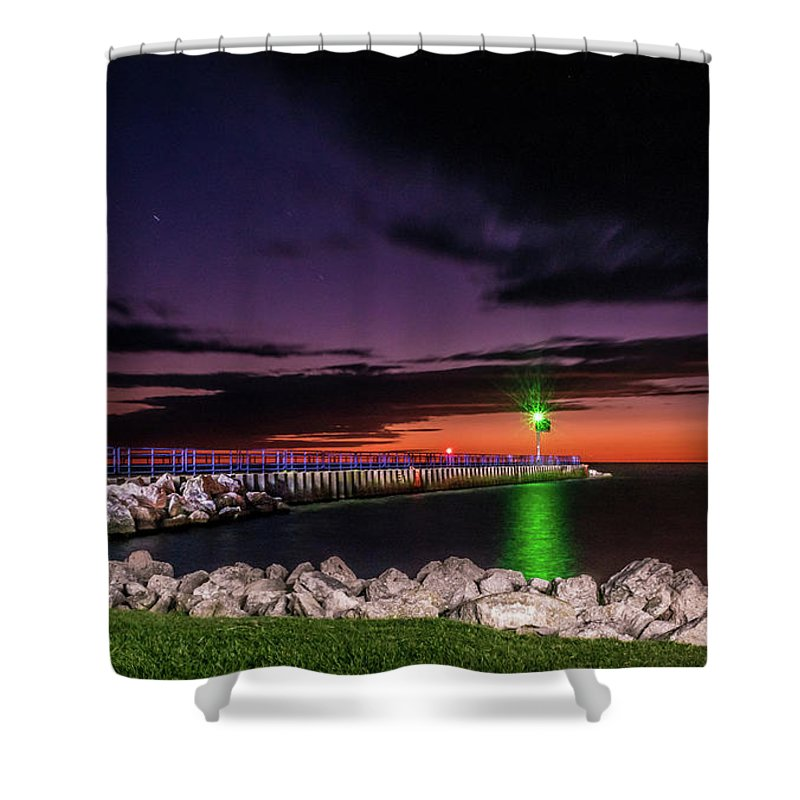 Lake Michigan Shower Curtain featuring the photograph Pier And Lighthouse by Lester Plank