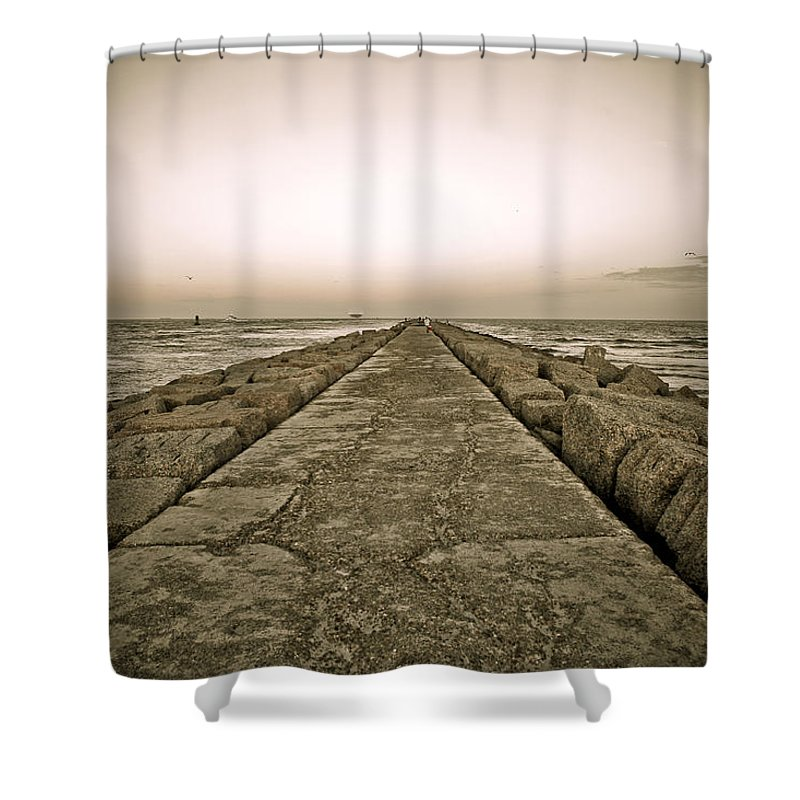 Water Shower Curtain featuring the photograph Pier At Sunset by Marilyn Hunt