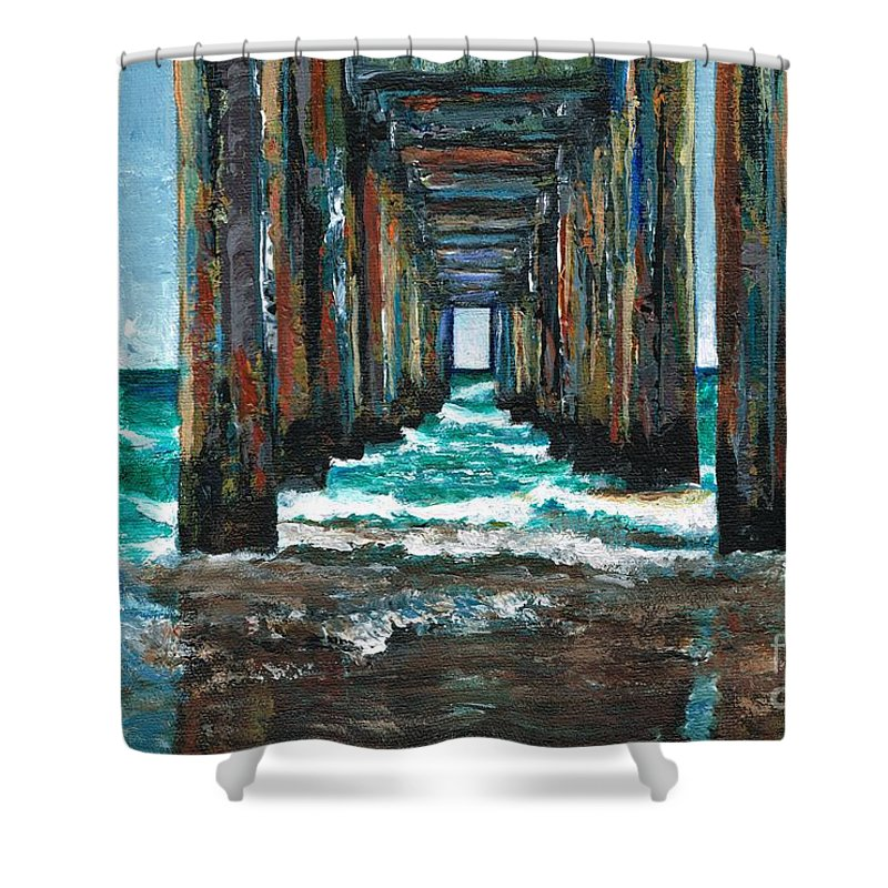 Ocean Shower Curtain featuring the painting Pier One by Frances Marino
