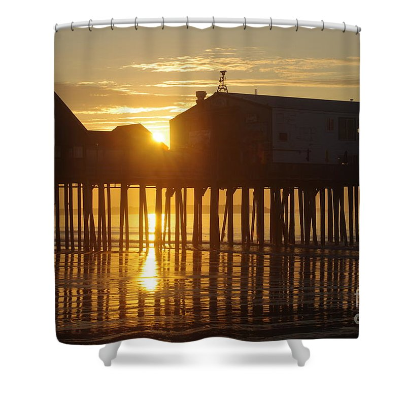 Old Shower Curtain featuring the photograph Pier Sunrise by Ray Konopaske