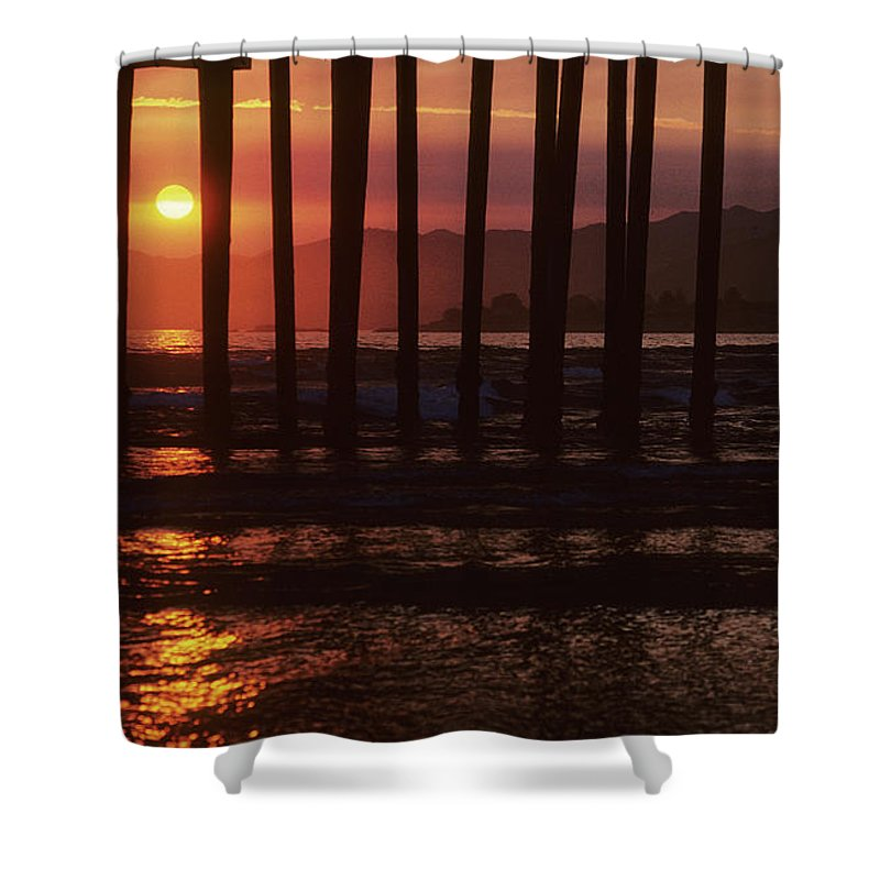 Pier Shower Curtain featuring the photograph Pier Sunset by Steve Williams