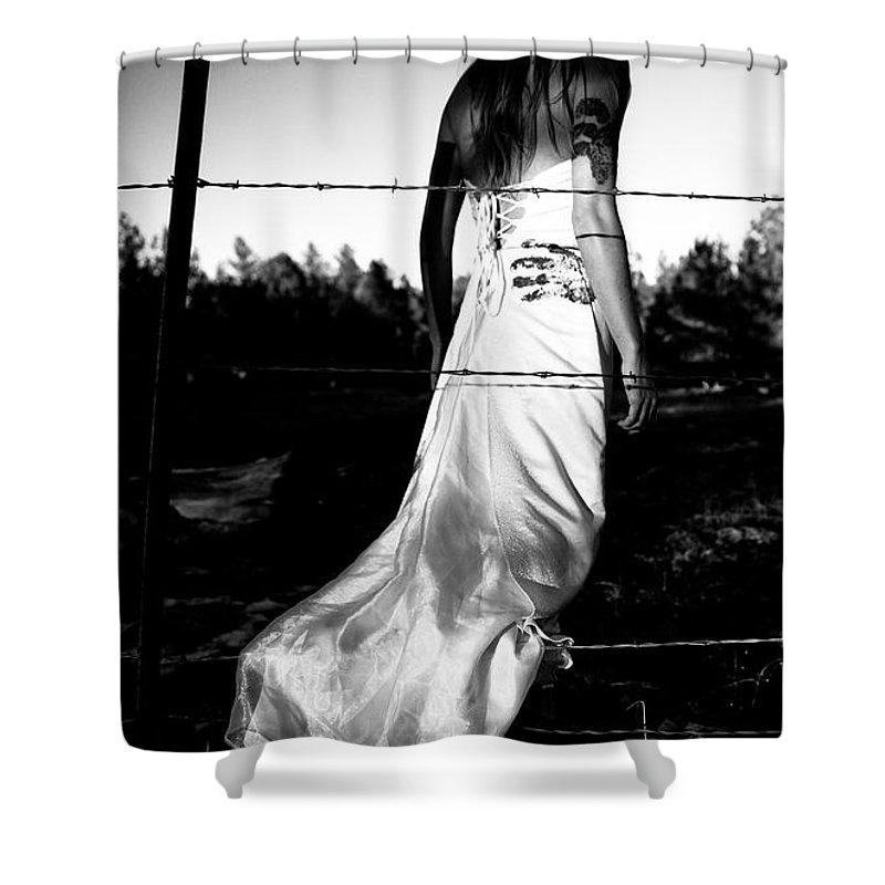 Torn Dress Shower Curtain featuring the photograph Pierced Dress by Scott Sawyer