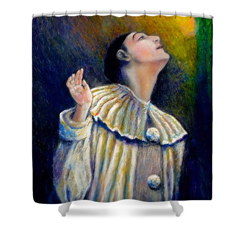 Clown Shower Curtain featuring the painting Pierrot's Peering Into The Light by Michael Durst