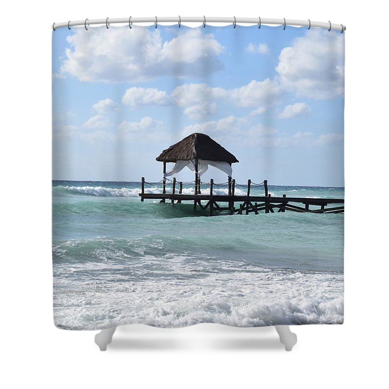 Beach Shower Curtain featuring the photograph Piers By The Ocean by Christina McNee-Geiger