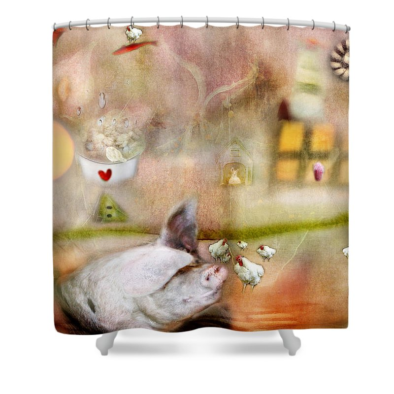 Pigs Shower Curtain featuring the photograph Pig by Karen Divine