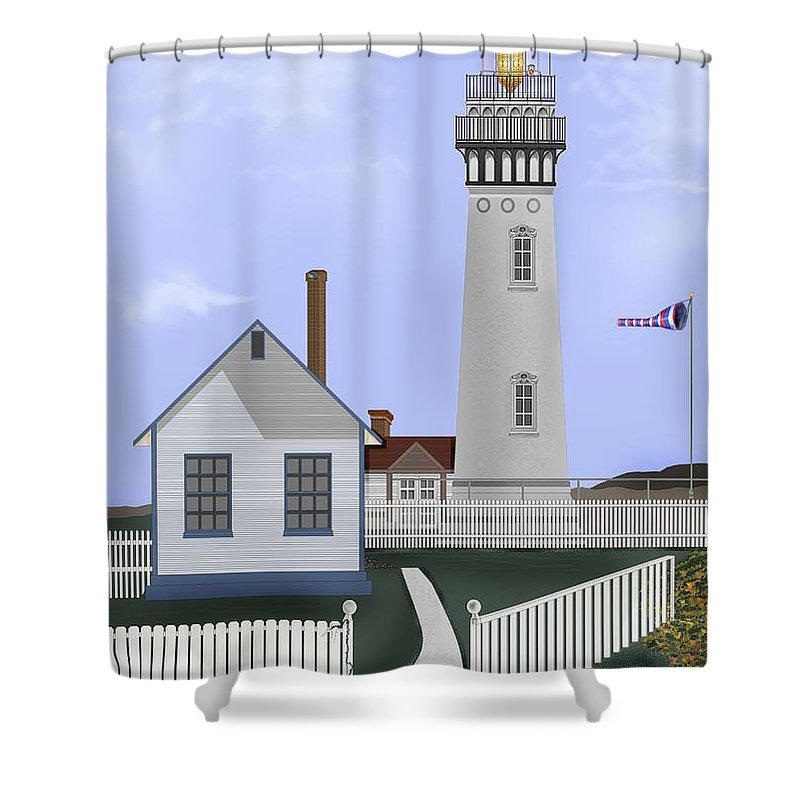 Lighthouse Shower Curtain featuring the painting Pigeon Point Lighthouse California by Anne Norskog