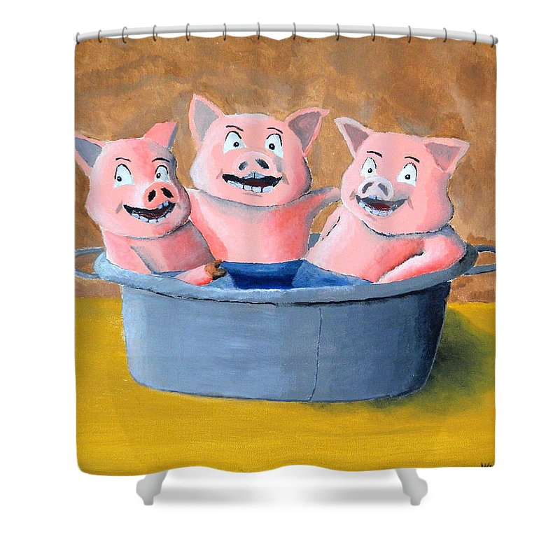 Pigs In A Tub Shower Curtain featuring the painting Pigs In A Tub by Winton Bochanowicz