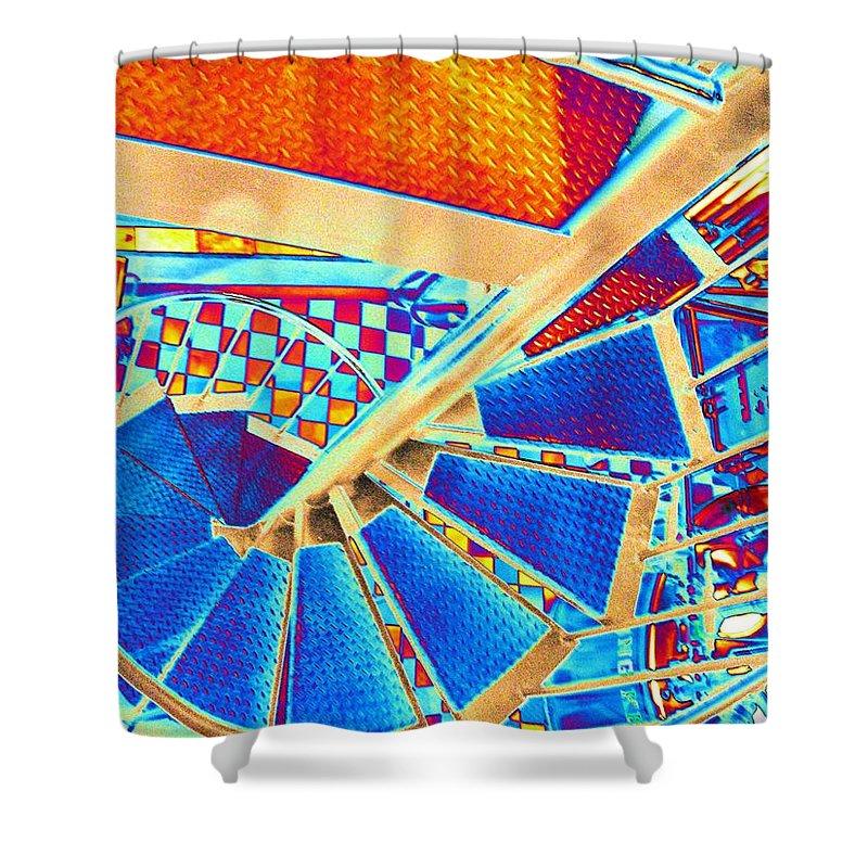 Seattle Shower Curtain featuring the digital art Pike Brewpub Stair by Tim Allen