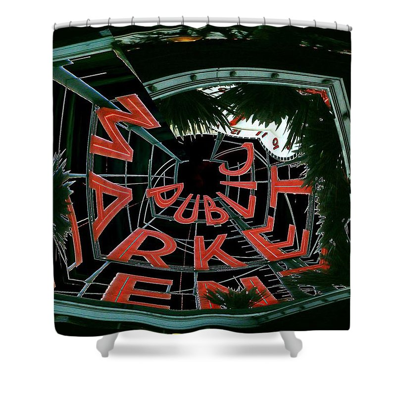Seattle Shower Curtain featuring the digital art Pike Place Market Entrance 2 by Tim Allen