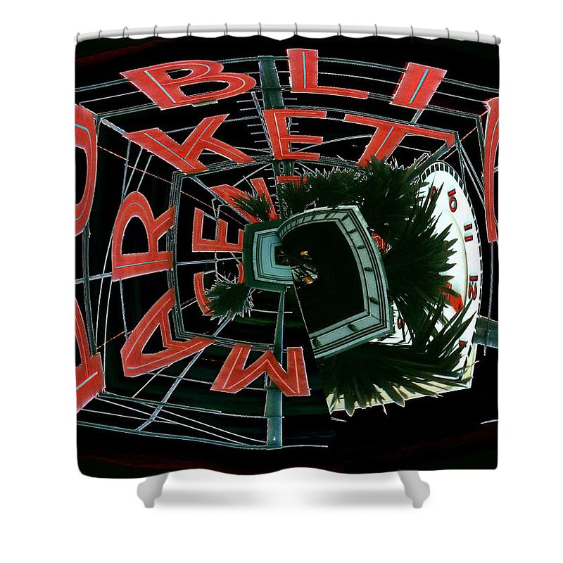 Seattle Shower Curtain featuring the digital art Pike Place Market Entrance 3 by Tim Allen