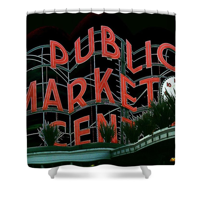 Seattle Shower Curtain featuring the digital art Pike Place Market Entrance 5 by Tim Allen