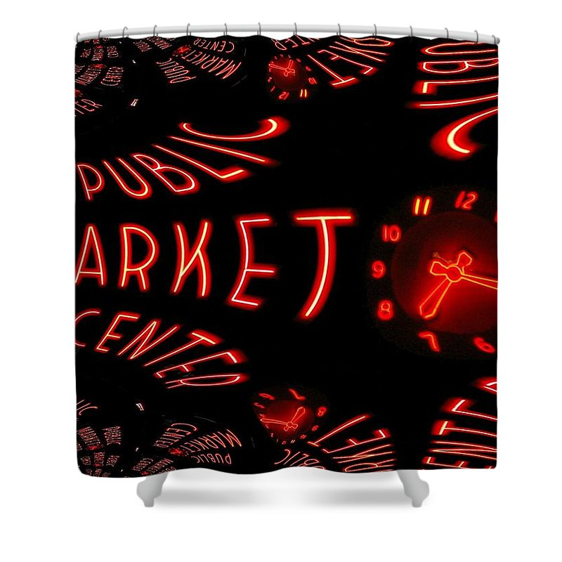 Seattle Shower Curtain featuring the digital art Pike Place Market Entrance 6 by Tim Allen