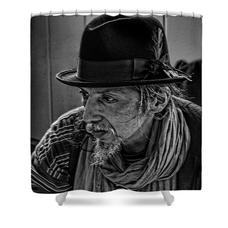 Black And White Shower Curtain featuring the photograph Pike Place Vendor by David Patterson