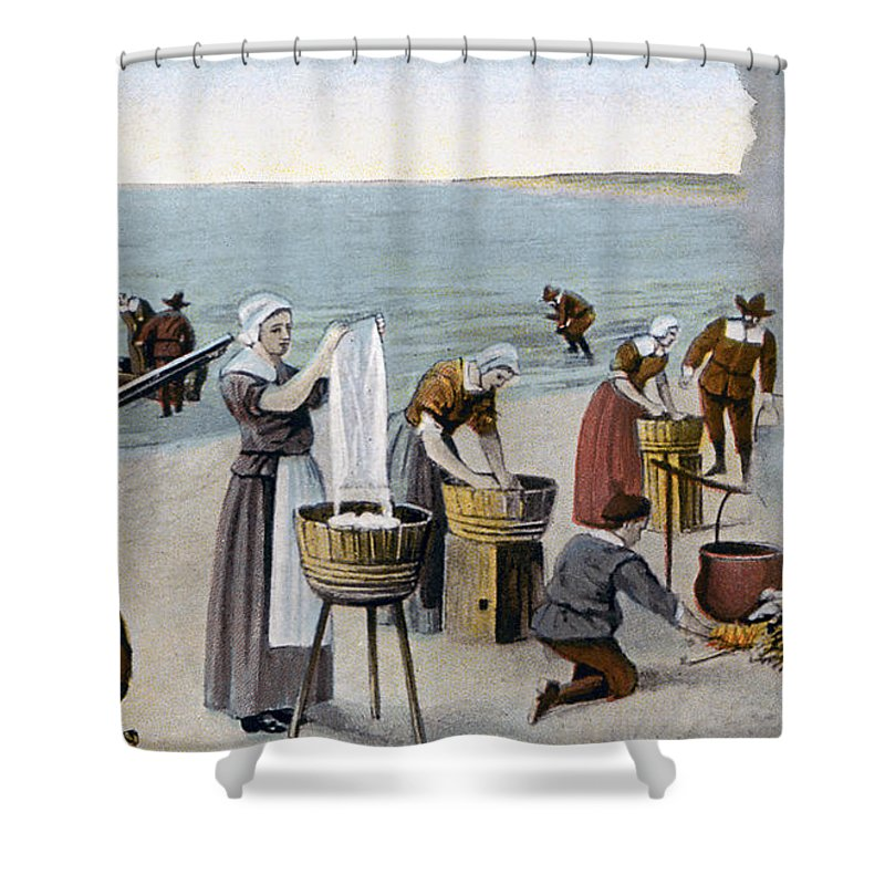 1620 Shower Curtain featuring the photograph Pilgrims Washing Day, 1620 by Granger