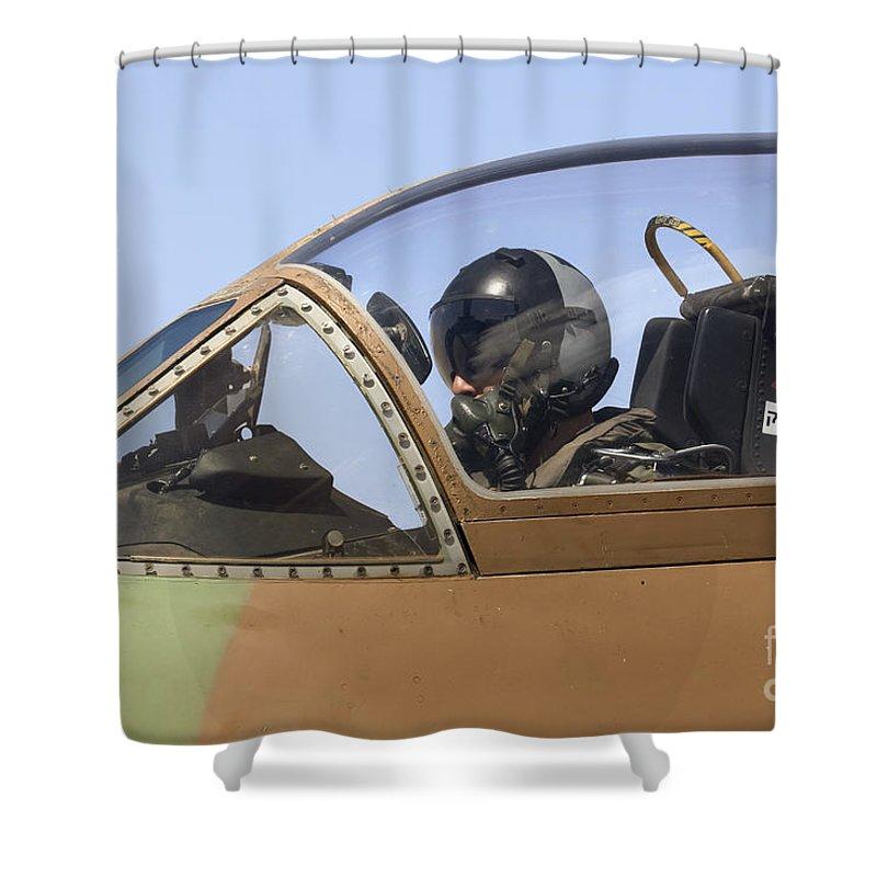 Aircraft Shower Curtain featuring the photograph Pilot In The Cockpit Of A Skyhawk Fighter Jet by Nir Ben-Yosef