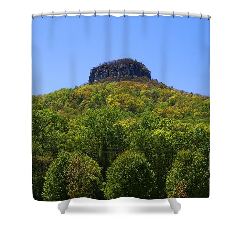 Pilot Mountain Shower Curtain featuring the photograph Pilot Mountain In Spring Green by Kathryn Meyer