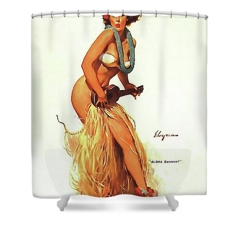 Pin Up Shower Curtain Featuring The Painting Hula Girl Playing Ukulele By Long Shot