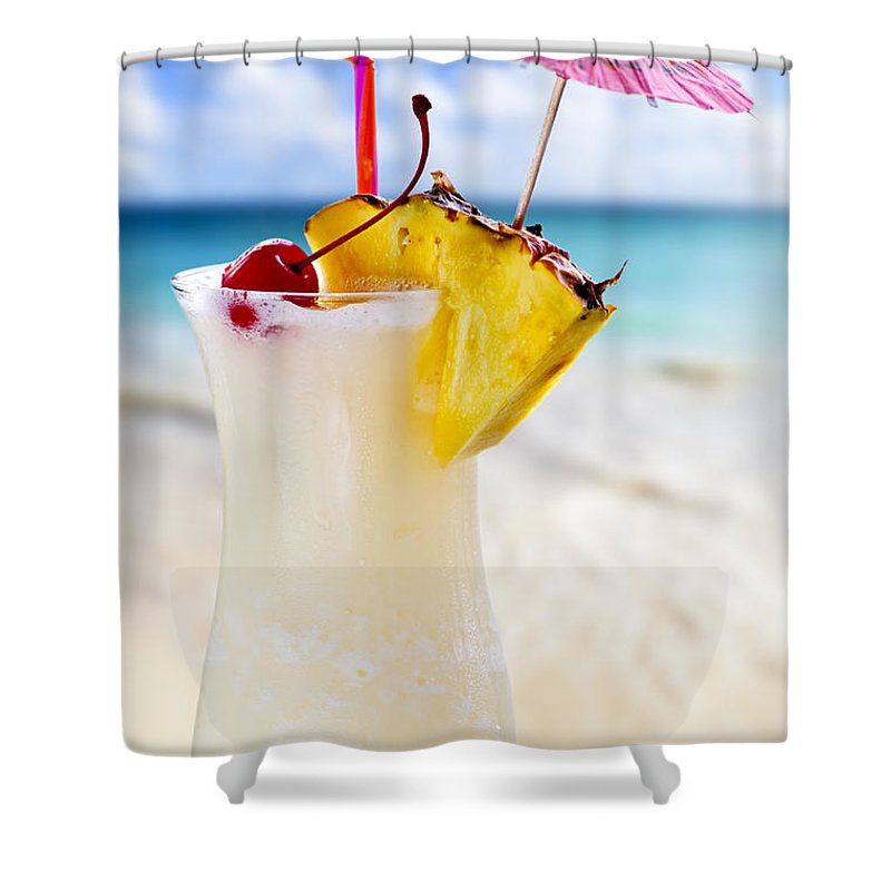 Pina Colada Shower Curtain featuring the photograph Pina Colada Cocktail On The Beach by Elena Elisseeva